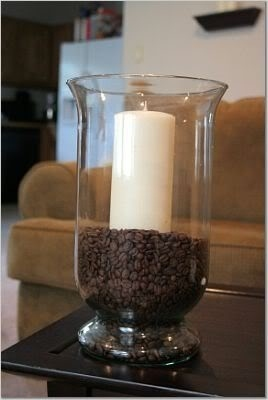 Coffee Beans as candle holder