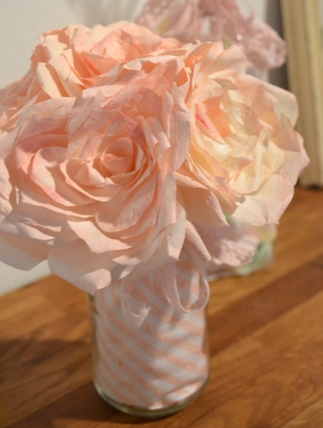 Coffee filters as paper roses