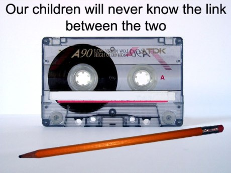 Pencil and cassette tape