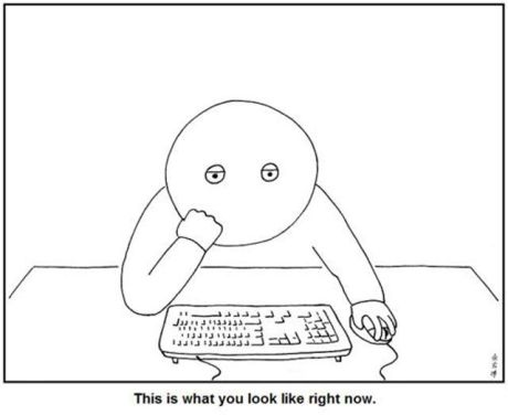 Staring at computer screen