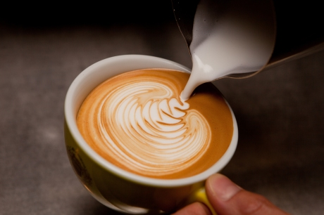 Pouring Latte Art - close up
